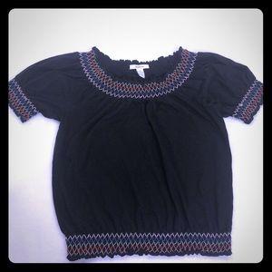 3/$25 Style & Co Smocked Black Peasant Hobo Top